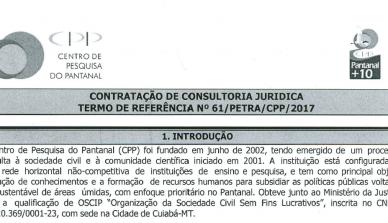 Termo de Referência para a contratação de consultoria jurídica
