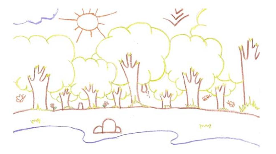 Desenho feito por participante do programa de Educação Ambiental para representar o reflorestamento (Imagem: acervo dos pesquisadores da UFMT)