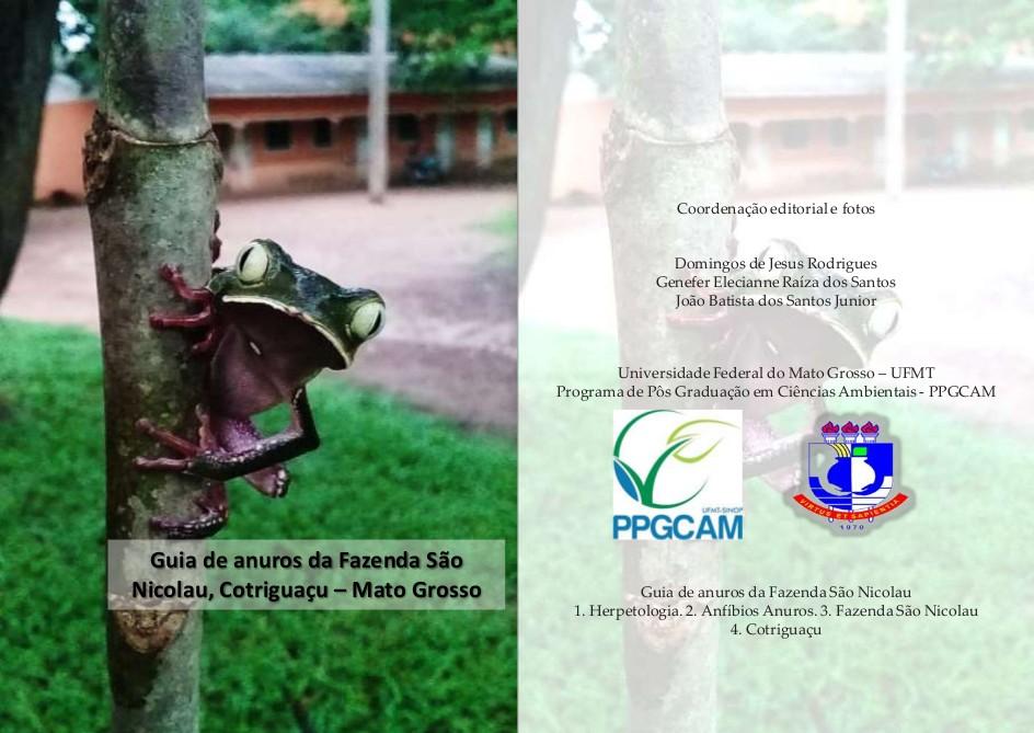 Capa do guia ilustrado sobre as espécies de anuros da Fazenda São Nicolau, produzido pelos participantes do curso de ecologia de campo do programa de Pós-graduação em Ciências Ambientais (Imagem: Curso de Ecologia do Campo)