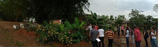 Participantes conheceram o biofiltro da água, também conhecido como círculo de bananeira, da cozinha da Fazenda (Foto: Saulo Thomas/ONF Brasil)