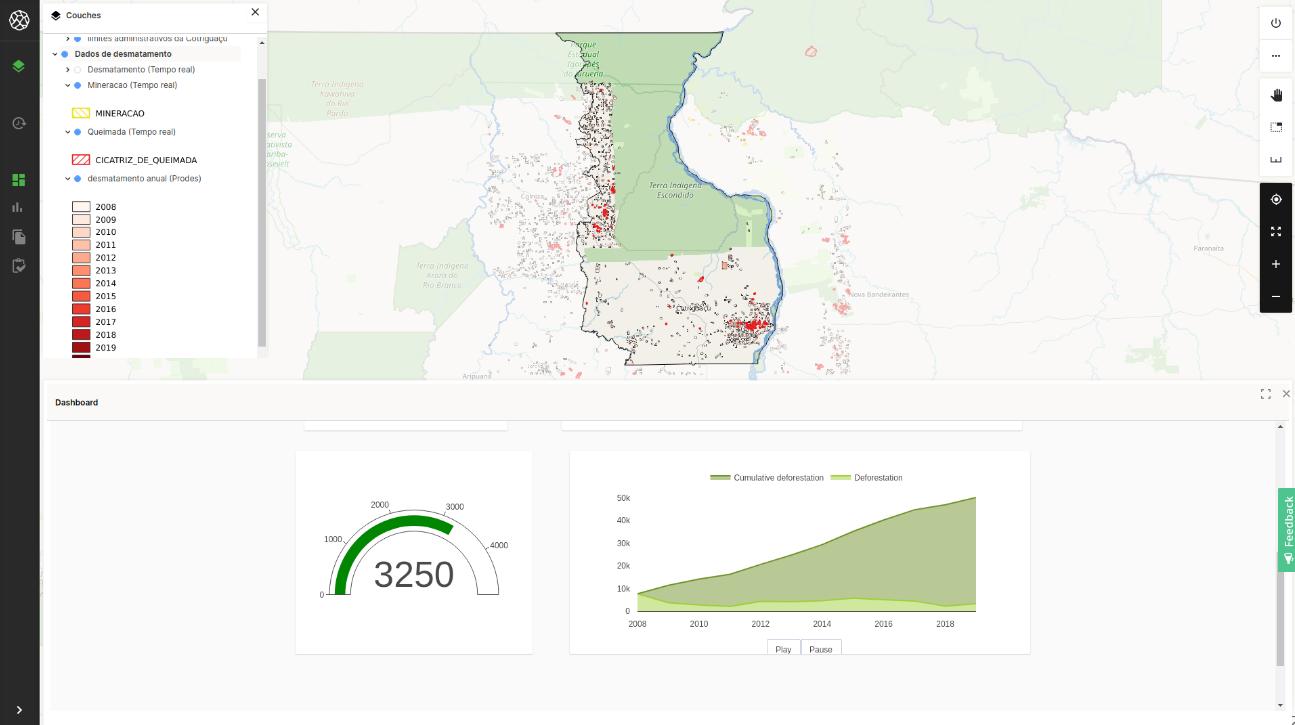 Modelo de ferramenta de monitoramento territorial que será construída pelo Projeto TerrAmaz para apoiar a gestão territorial em Cotriguaçu-MT (Imagem: Acervo da ONF Brasil)